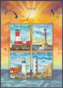 2014 Sao Tome and Principe 5619-22KL Birds / Lighthouses 10,00 €