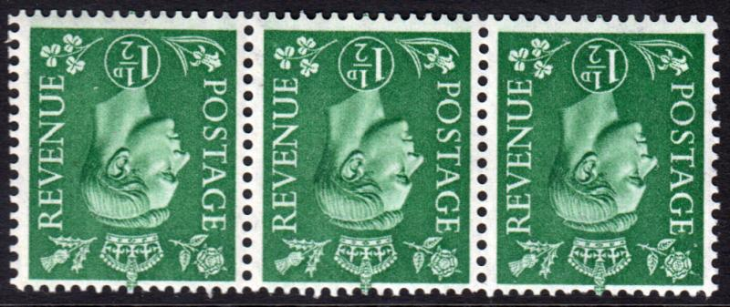 GB KGVI 1950 1.5d Pale Green SG505Wi Inverted Watermark Block x 3 Mint Hinged