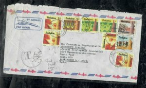 ZIMBABWE COVER (PP0301B)    9 STAMP A/M COVER TAXED POSTAGE DUE COVER TO USA