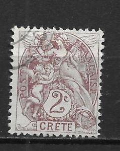 French Offices in Crete 2 2c single Used