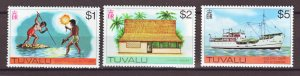 J22227 Jlstamps 1976 tuvalu hv,s of set mnh #35-37, 1$ to 5$ values