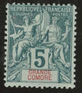 Grand Comoro Island Scott 4 MH* from 18971907 set