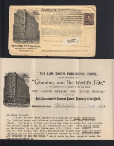 Philadelpha, PA 1893 THE HERALD Mailing for the COLUMBIAN EXPO