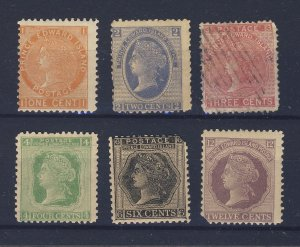 6x P.E.I. Mint Stamps; #11-1c 12-2c 13-3c 14-4c 15-6c 16-12c Guide Value=$70.00