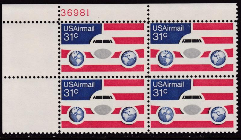 United States 1974  31cent Plane & Globe Plate Number Block VF/NH