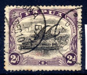 Papua 1909 sg 68 2d blk & purple - var rift in clouds,  posn 23 - FU