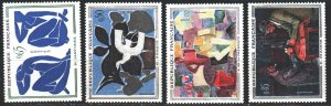 France. 1961. 1372-75. Paintings by Matisse, Cezanne, Freinet, Marriage. MVLH.