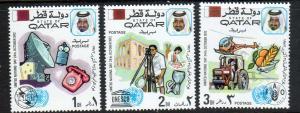 Qatar Scott 323-25! ITU, UNESCO, FAO! MNH!