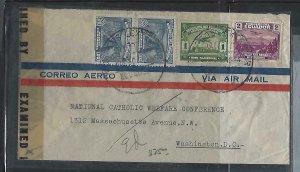 ECUADOR  COVER (P2709B) 1944 CENSOR A/M  1C+2C+20CX2  TO USA