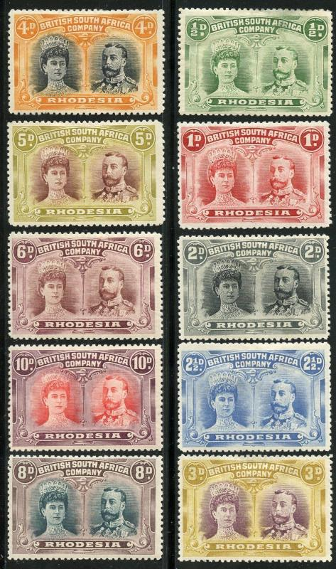 RHODESIA   SCOTT#101/110  DOUBLE HEADS    MINT HINGED --SCOTT VALUE $625.00