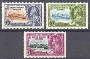 Solomon Islands Sc# 61-63 MH 1935 3p-1sh Silver Jubilee Issue