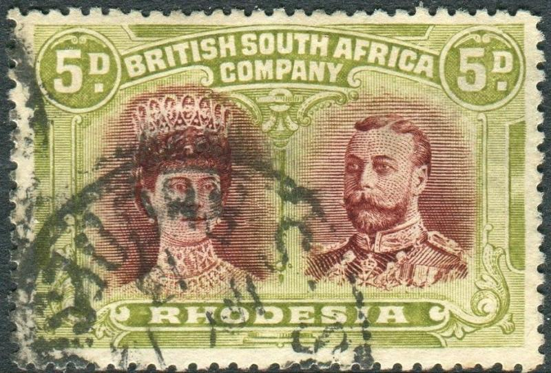 RHODESIA-1910-13 5d Lake-Brown & Green good used example with full perfs Sg 143a