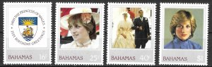 Bahamas Princess Diana Royal Birthday set of 1982, Scott 510-513 MNH