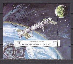 Ras al Khaima, Mi cat. Soyuz Spaceships s/sheet. Canceled.  ^