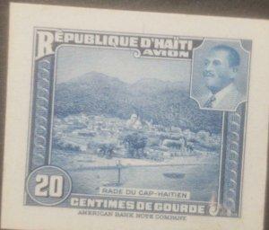 L) 1953 HAITI, ABN DIE PROOFS, AMERICAN BANK NOTE, RADE OF CAP-HAITIEN, BLUE, 20