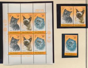New Zealand Stamp Scott #B115-7, B117a, Mint Never Hinged, Set & Miniature Sh...