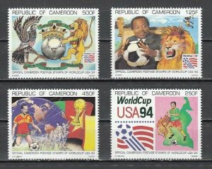 Cameroon, Scott cat. 890-893. U.S.A. World Cup Soccer issue.