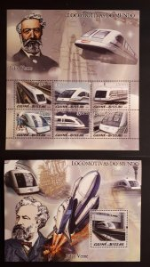 Trains and locomotives - Guinea Bissau 2005 - complete ss + Bl ** MNH