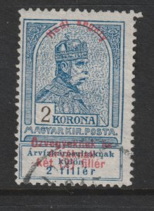 Hungary a used 2k from the 1914 War Charity set