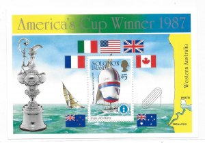 Solomon islands 1987 America's cup Winner flag ships S/S Sc 575 MNH C5