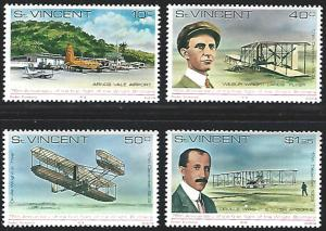 St. Vincent MNH 537-40 Wright Bros. Aircraft 1978