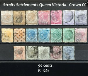 Malaya Straits Settlements 1867-82 QV wmk Crown CC 19V Used M2417