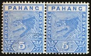 Malaya 1893 Pahang Tiger 5c pair Fine Used SG#13 M2437