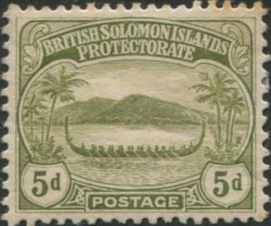 Solomon Islands 1908 SG12 5d olive Canoe MLH