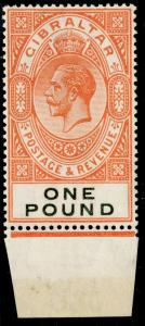 GIBRALTAR SG107, £1 red-orange & black, LH MINT. Cat £190. MARGINAL.