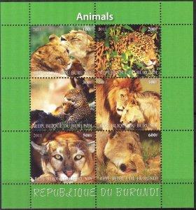 Burundi 2011 Wild Cats (3) Lions Cheetah MNH Cinderella !