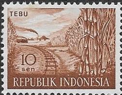 INDONESIA IN-9 (1) MNH Stamp V-F 10 sen Scott 408, 1960 Tebu