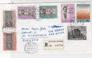 Vatican 1963 Registered Airmail Assorted Subjects Multiple Stamps Cover Rf 29476