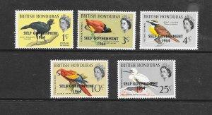 BIRDS - BRITISH HONDURAS #182-6  MNH