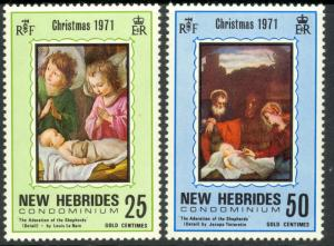 NEW HEBRIDES BRITISH 1971 QE2 CHRISTMAS Set Sc 149-150 MNH