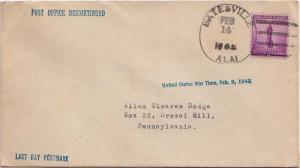 United States Alabama Batesville 1942 4c-bar  1954/1942  Philatelic.