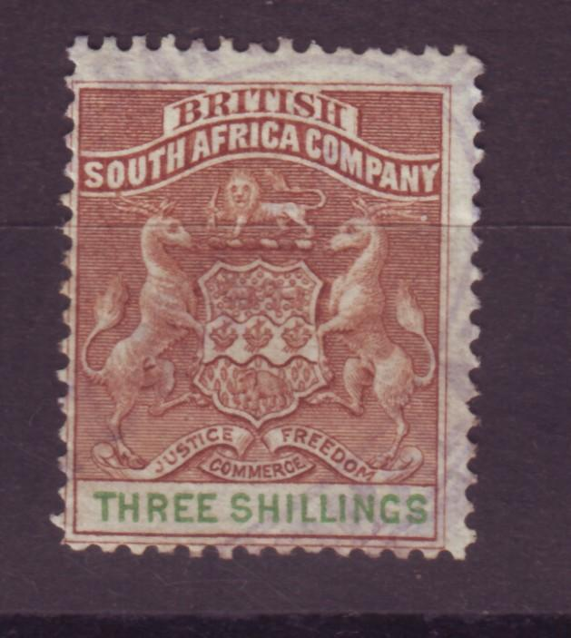 J17045 JLstamps 1890-4 rhodesia used #12 coat of arms revenue cancel