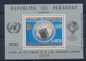 [35580] Paraguay 1965 Space Travel Weltraum Visit Pope Paul UN Sheet MNH