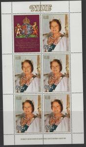 NIUE SG364 1980 QUEEN MOTHER SHEETLET MNH