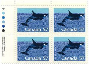 Canada - 1988 57c Killer Whale Imprint Block #1173i