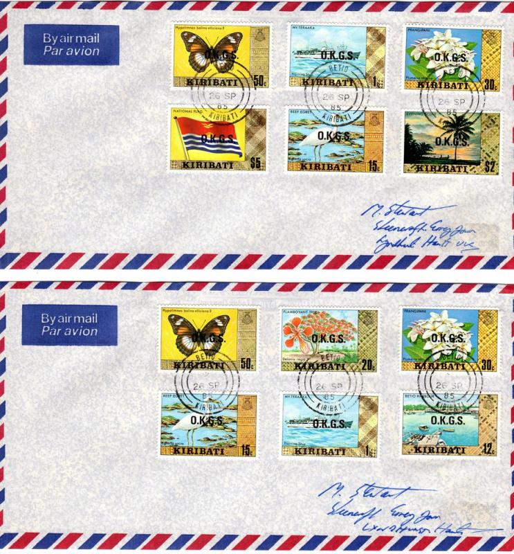 Kiribati 2 covers with O.K.G.S overprinted stamps