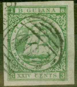 British Guiana 1863-76 24c Green Fine Used Imperf Proof