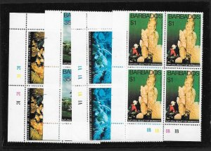 BARBADOS Sc#455-458 Complete Mint Never Hinged Set PLATE BLOCKS of 4