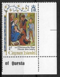 CAYMAN ISLANDS SG302w 1971 CHRISTMAS ¼c WMK INVERTED MNH