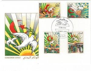 Algeria 2000 FDC Stamps Scott 1182-1185 Civil Concord Flags Flowers Pigeons