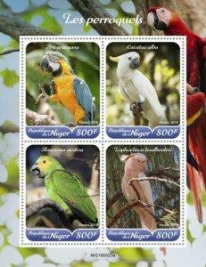 Niger - 2019 Parrots on Stamps - 4 Stamp Sheet - NIG190523a