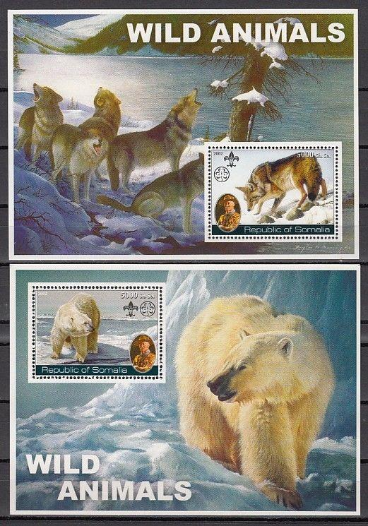 Somalia, 2002 Cinderella issue. Wild Animals on 2 s/sheets. Scout Founder.