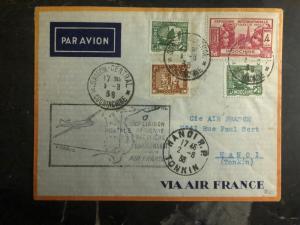 1938 Saigon  to Hanoi Vietnam First Flight Cover via Air France FFC 100 Flown