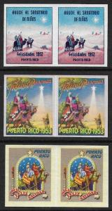 Puerto Rico 1952, 1953. 1954 Xmas TB Seal Cinderella IMPERF PAIRS VF Unused