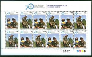 ONU UN blue helmet corps woman soldier children URUGUAY MNH stamp sheet 2015