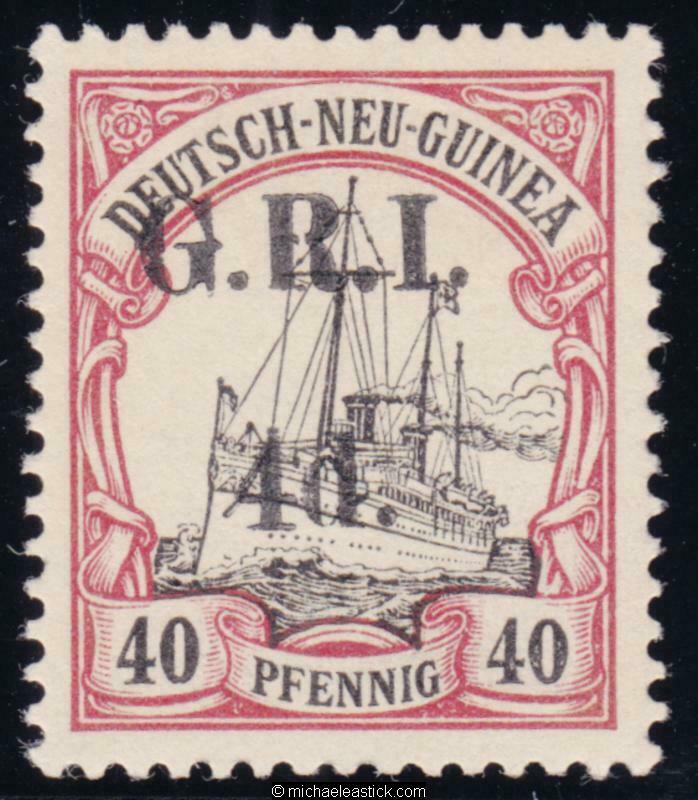 1914 New Guinea 4d on 40pf Black & Carmine, overprinted 'G.R.I.', SG 24, MH